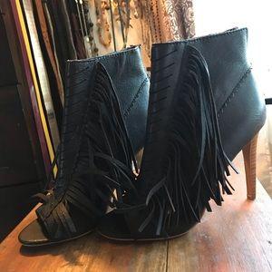 Leather Fringe Booty Heels
